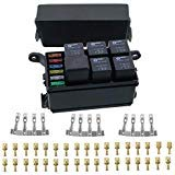 (12-Slot fuse Relay Box,6 Relays,6 ATC/ATO Fuses Holder Block with 41pcs Metallic Pins for Automotive and Marine Engine Bay )