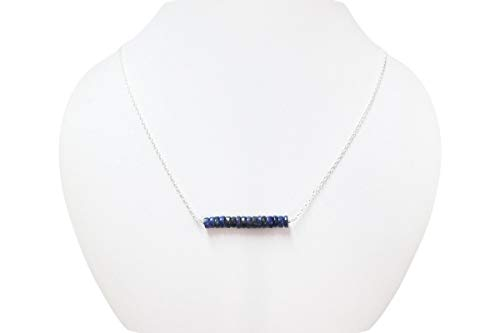 Dainty Lapis Lazuli Bar Necklace Jewelry with Sterling Silver Chain and Findings 16""