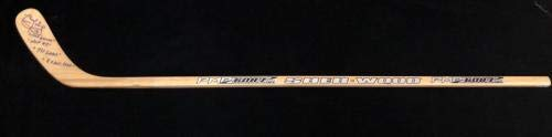 Marcel Dionne Signed Stick Multiple Inscriptions Red Wings Autographed NHL Sticks