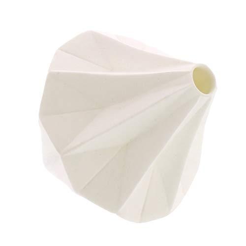 My Swanky Home Geometric Origami Faceted White Bud Vase | Bone China Diamond Sculpture Bone China Bud Vase