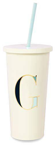 Kate Spade New York Insulated Initial Tumbler with Reusable Silicone Straw, 20 Ounces, G - Letters Vintage