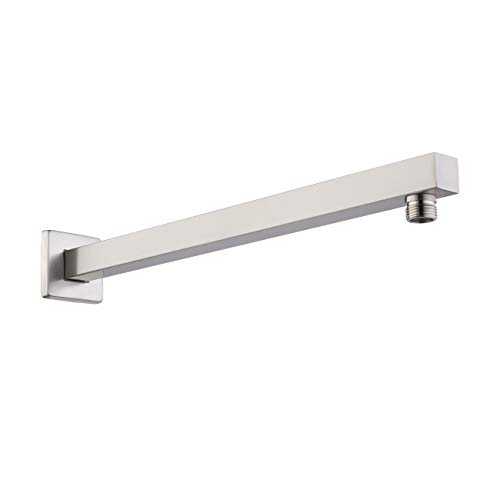 KES 16-Inch Shower Head Extension Extender Rainfall Shower Arm with Flange Stainless Steel Brushed Nickel, - 17 Arm Inch Shower
