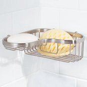 Ginger 504L Splashables Brass Wall Mounted Wire Corner Basket, Satin Nickel