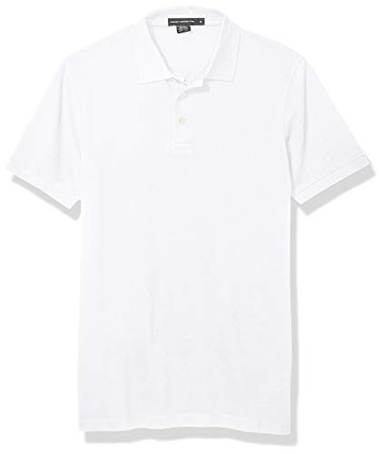 French Connection Men's Short Sleeve Solid Color Regular Fit Polo Shirt, Popcorn Linen White, S from French Connection