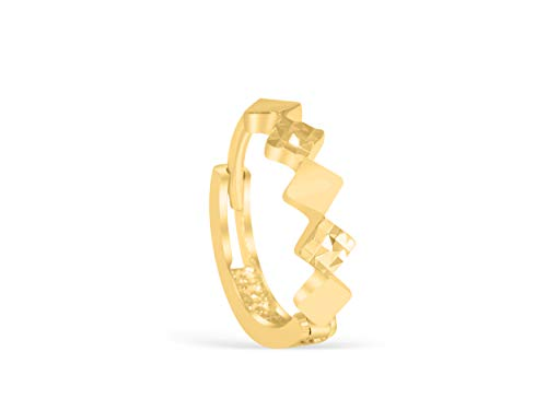 14K Solid Yellow Gold Jewelry 3D Triangle Diamond Pyramid Tragus Cartilage Snug Rook Daith Helix Ear Segment Clicker Hoop Ring Piercing Earring For Women