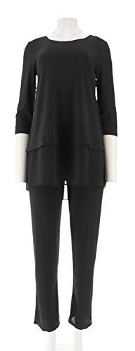 Slinky Brand Chiffon-Hem Scoop Neck Knit Tunic Pant Set BLACK L NEW - Set Slinky Knit Pant