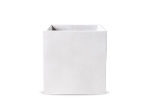 Handmade, Large Fiberglass Garden Planter Pot, Indoor/Outdoor (Cubicae Matte Oyster White, Natural Finish, Square,  12