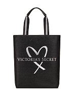 - VICTORIA SECRET SPARKLE SILVER AND BLACK OFFICIAL FASHION SHOW TOTE - LIMITED EDITION - HEART