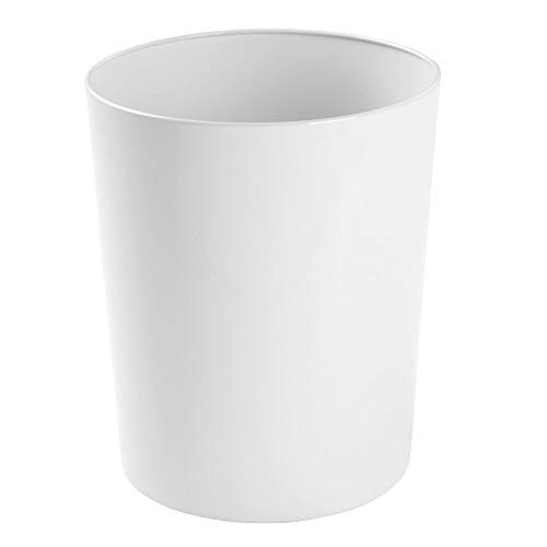 mDesign Round Metal Small Trash Can Wastebasket, Garbage Container Bin for Bathrooms, Powder Rooms, Kitchens, Home Offices - Durable Steel - White