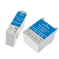 Amsahr 0T026 Remanufactured Replacement Epson Ink Cartridges for Printers/Faxes with 1 Black and 1 Color Cartridges Ink
