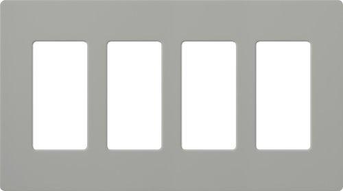 Lutron CW-4-GR Claro 4-Gang Wallplate, Gray by Lutron