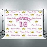 Riyidecor Sweet Sixteen 16 Backdrop BirthdayRoyal Crown Girl's