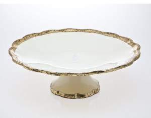 OKSLO Campania porcelain gold cake display stand pedestal