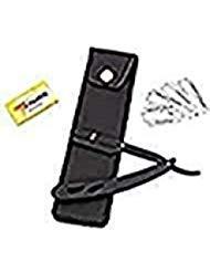 Professional Barber Manual Folding Straight Razor for Men Salon | Black | Includes pouch + 50 Free 7 O'Clock Single Sharp Edge Blades (Black)