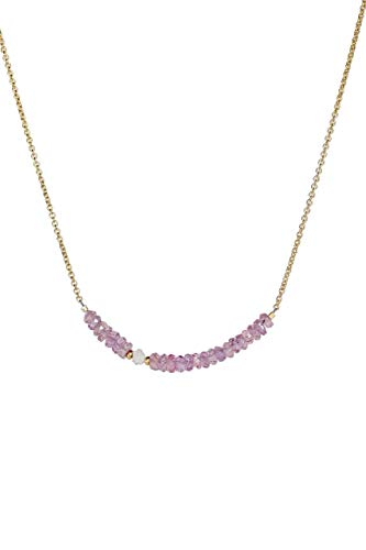 - Raw White Diamond and Purple Sapphire Stone Bar Necklace -September birthstone - 16