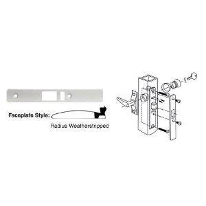 C.R. Laurence AQ-YKDS-TU0F CRL Aluminum Finish Radius Weatherstripped Faceplate for DL2140 Deadlatch Locks