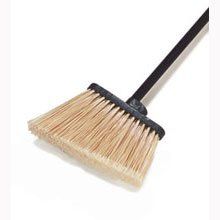 off white Duo Sweep Flagged Medium Duty Angle Broom -- 12 per case by Carlisle