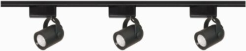 Nuvo Lighting TK313 3-Light Low Voltage, MR16 Round Back Track Light Kit, Black - 4' Round Power Feed Canopy