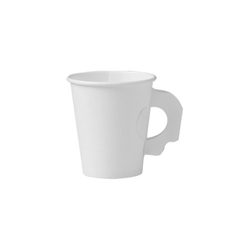 SOLO 376HW-2050 Single-Sided Poly Paper Hot Cup with Handle, 6 oz. Capacity, White (Case of 1,000)