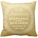 (50th Wedding Anniversary Personalized gold Throw pillow cover 2222 cover 2222)