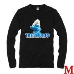 Cute The Smurf Style 100% Cotton Long-Sleeve T-Shirt-Brainy Smurf 02 Pattern/Size M