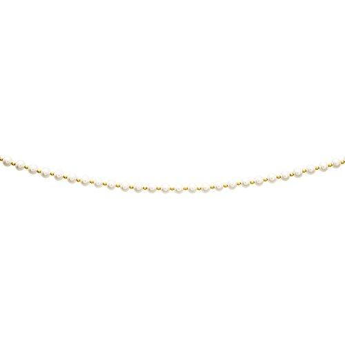 So Chic Bijoux © Collier Femme 45 cm Perles Eau Douce 5 mm & Boules Alternées Crème Ivoire Or Jaune 750/000 (18 carats)