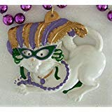 Cat Wearing Mask Mardi Gras Bead Necklace Cajun New Orleans -