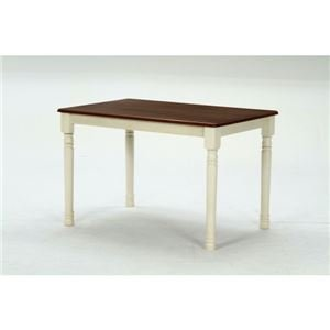 ダイニングテーブル/リビングテーブル 単品 【ホワイト×ブラウン 幅113.5cm】 木製 『マキア B07C947DGR