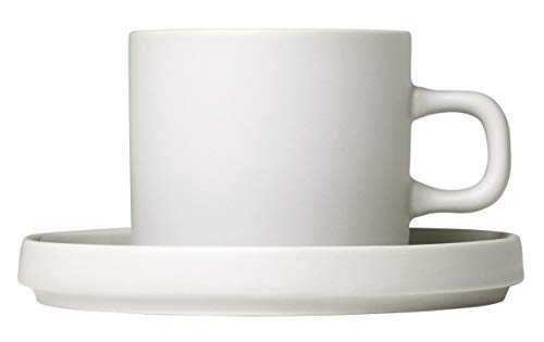 (blomus Coffee Cups with Saucers 200 ML / 7 Ounce - Set of 2 - Moonbeam/Beige MIO)