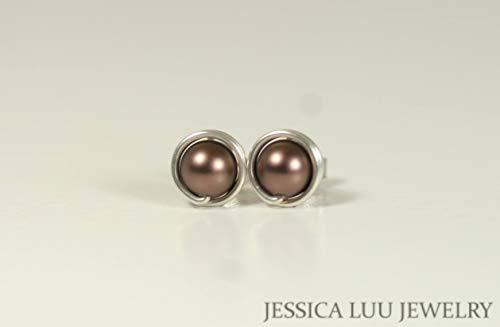 chocolate pearl stud earrings - 8