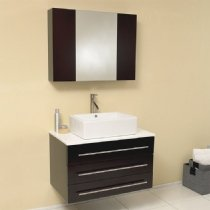 Fresca FVN6183ES Modello Espresso Modern Bathroom Vanity with Marble Countertop - 36' Bathroom Vanity Top