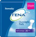 TENA Serenity Overnight Pads Ultimate Absorbency Full Coverage, 30 count (Pack of 2)