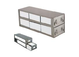 CRYSTAL - BioExcell 3x4 Upright Freezer Drawer Rack for Stan 2'' Boxes w/Wht 2'' CB box and divider, EA1