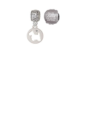 (Scottie Dog Silhouette Wife Charm Bead with You Are More Loved Bead (Set of 2))