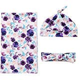 Newborn Baby Floral Swaddle Blanket Headband Soft Baby Receiving Blankets -