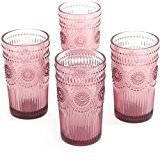 The Pioneer Woman Adeline 16-Ounce Emboss Glass Tumblers, Dishwasher-safe, Made of durable pressed glass - 4-Piece (Plum)