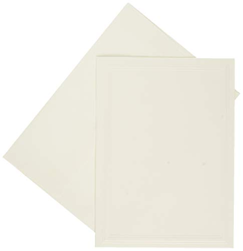Strathmore (105-232-1 Photo Mount Cards, Classic Embossed Border 50 Cards & Envelopes White 50 Cards & Envelopes