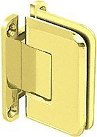 CRL Pinnacle 537 Series Ultra Brass Wall Mount Full Back Plate Standard Hinge with 5º Offset by C.R. Laurence