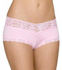 Hanky Panky Women's Logo To Go V-Front Boyshort Cotton Candy Pink (Hanky Panky Mid Rise)