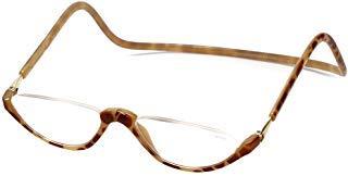 Clic Sonoma Single Vision Half Frame Designer Reading Glasses in Blonde Tortoise +2.00