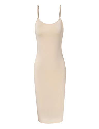 GloryStar Women Sleeveless Spaghetti Strap Cami Maxi Slip Dress (L, Nude-Short)