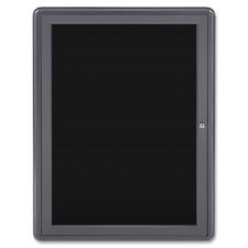 Ghent Enclosed Letterboard, 1-Dr, 24''x34'', Black/Gray by Ghent