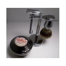 Merkur Shave Set With 38C Long Handle Barber Pole Razor + Chrome Stand + Badger Chrome Brush + Omega Shaving Cream Bowl by Merkur