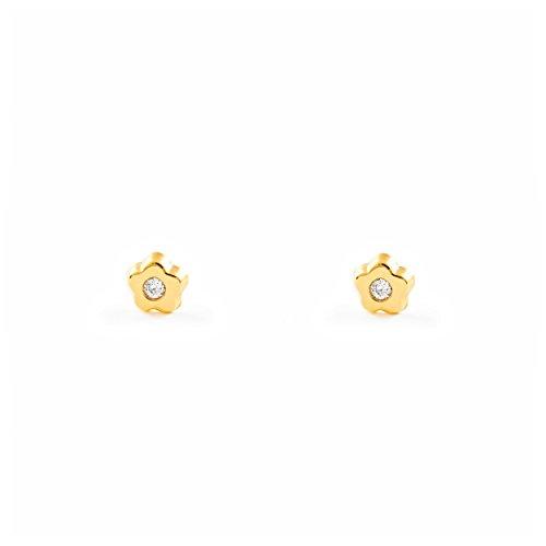 9 K Yellow Gold flower Baby Earrings