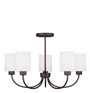 Livex Lighting 5265-07 Sussex - Five Light Convertible Chandelier, Bronze Finish with Off-White Linen Hardback Shade