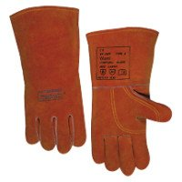 Premium Leather Welding Gloves, Split Cowhide, Large, Buck Tan (28 Pair)