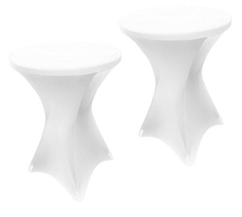 EL Event Linens 2-Pack Spandex Cocktail Table Cover - Fitted High Top Table Cloth, Stretch Tablecloth Covers for Cocktail Tables (White)