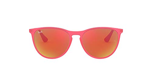 Ray-Ban Junior Kid's RJ9060S Erika Kids Round Sunglasses, Fuxia Fluo Trasparent Rubber/Orange Mirror, 50 mm