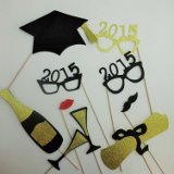 10 Pc Graduation 2014 Glasses Photo Booth Props Mustache on a Stick Xmas Christmas