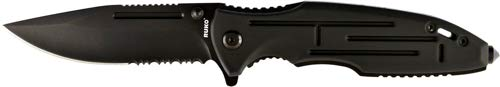 Ruko RUK0153-CS Shark Bull 440A Folding Blade Hunting Knife Black Anodized Aluminum Handle Clamshell, 3-1/2